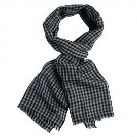 Småternet pashmina sjal i grå og sort