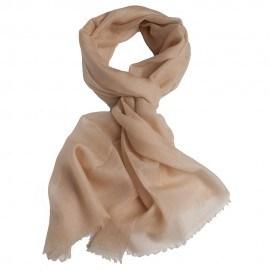 Beige pashmina sjal i lærredsvævning
