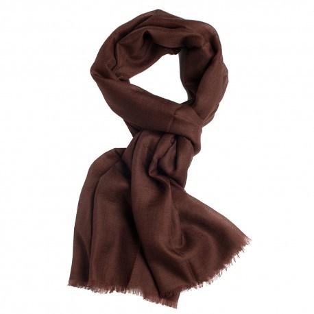 Sortbrunt pashmina sjal i lærredsvævning
