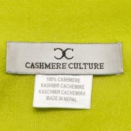 Limegrønt pashmina sjal i lærredsvævning
