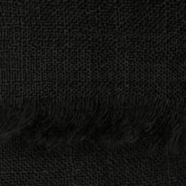 Sort pashmina sjal i 2 ply lærredsvævning