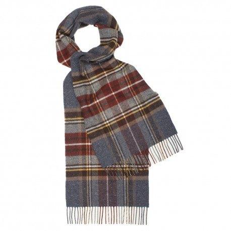 Image of   Gråblåt skotskternet halstørklæde