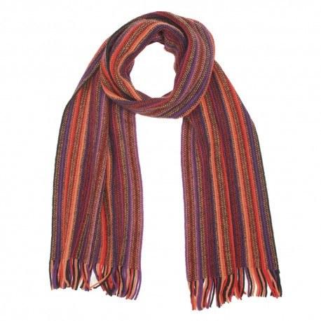 Image of   Multifarvet stribet tørklæde i røde nuancer