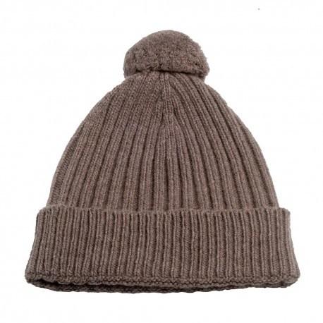 Image of   Gråbrun strikket hue i cashmere