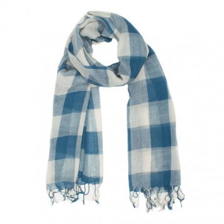 Ternet blåt og hvidt tørklæde i uld
