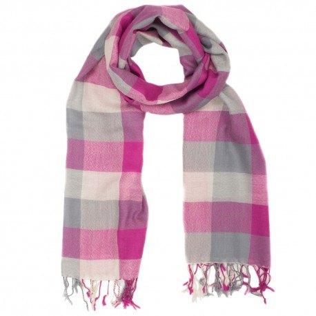 Ternet gråt og pink tørklæde i uld