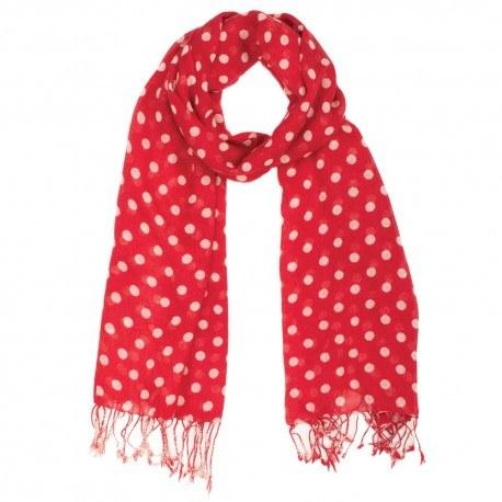 Image of   Rødt tørklæde med hvide prikker