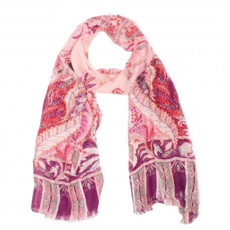 Image of   Modal/cashmere sjal i rosa og violet mønster