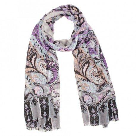 Image of   Modal/cashmere sjal i violet og gråt mønster