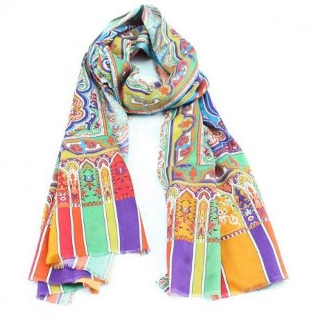 Silketørklæde i orange, blåt og grønt mønster