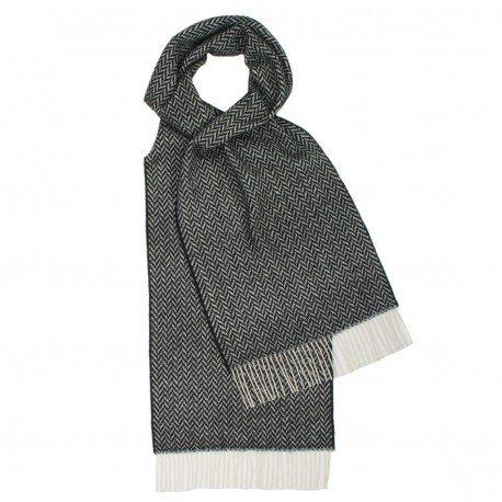 Image of   Gråt tørklæde i sildebensmønster