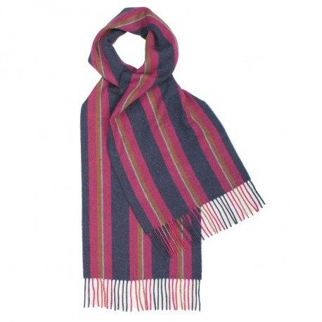 Image of   Lilla og blåt stribet tørklæde i lambswool