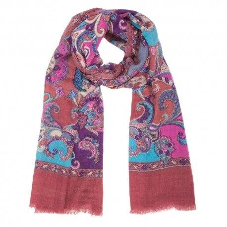 Rødbrunt tørklæde med print i uld og silke