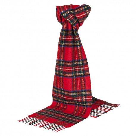 Image of   Rødt skotskternet tørklæde