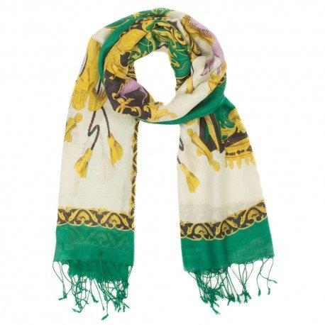Image of   Grønt tørklæde med print i silke og uld