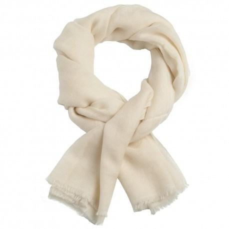 Råhvidt jacquard pashmina sjal i ren cashmere