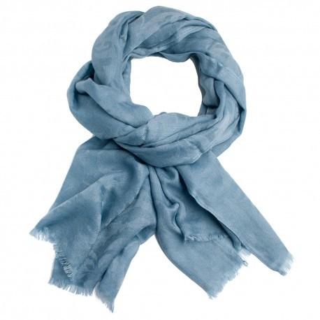 Image of   Gråblåt jacquard vævet pashmina sjal