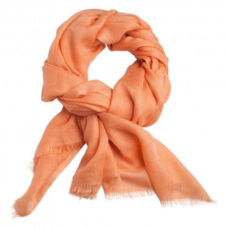 Ferskenfarvet jacquard vævet pashmina sjal