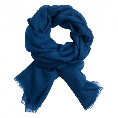 Image of   Mørkeblåt dobbeltrådet twill pashmina sjal