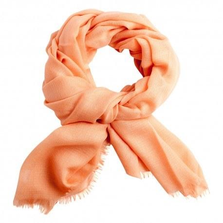 Image of   Ferskenfarvet diamant vævet pashmina sjal