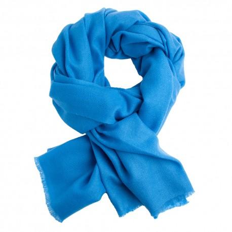Image of   Azurblåt twill vævet pashmina tørklæde