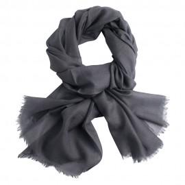 Mørkegråt pashmina sjal i 2 ply lærredsvævning