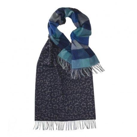 Image of   Blåt halstørklæde med dyreprint og tern
