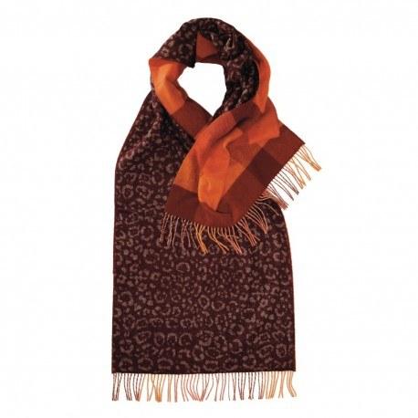 Rødbrunt halstørklæde med dyreprint og tern