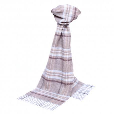 Image of   Beige skotskternet tørklæde