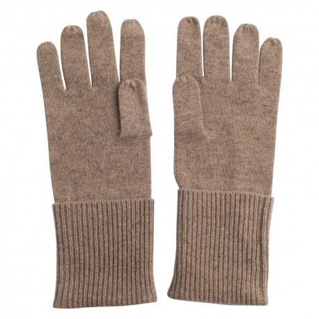 Strikkede cashmere handsker i beige melange
