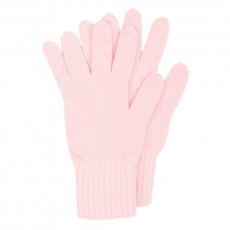 Rosa strikkede handsker i lambswool