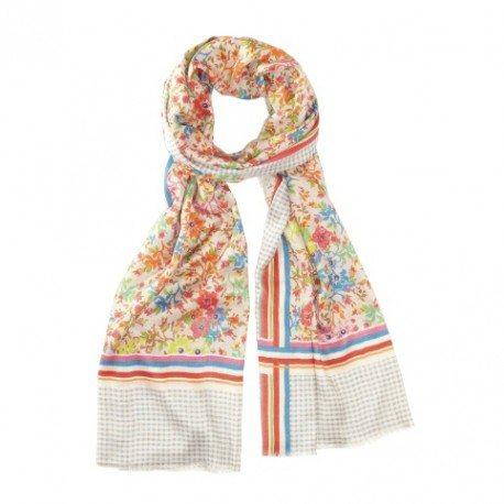 Blomstret silketørklæde i gullige nuancer