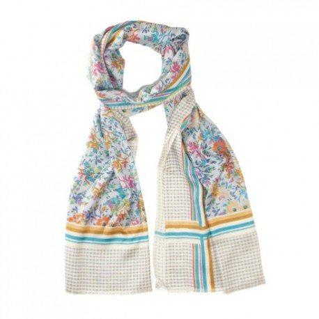 Blomstret silketørklæde i blålige nuancer