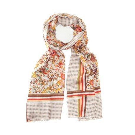 Image of   Blomstret silketørklæde i rødlige nuancer