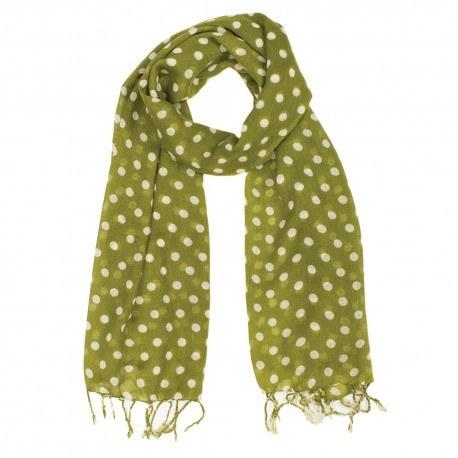 Image of   Limegrønt tørklæde med hvide prikker