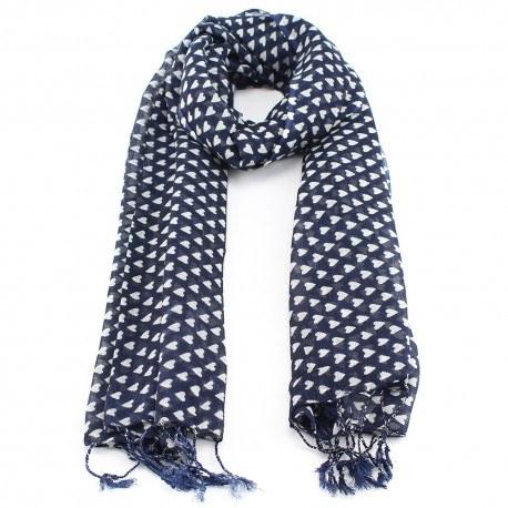 Image of   Mørkeblåt tørklæde af uld og silke med hjerter