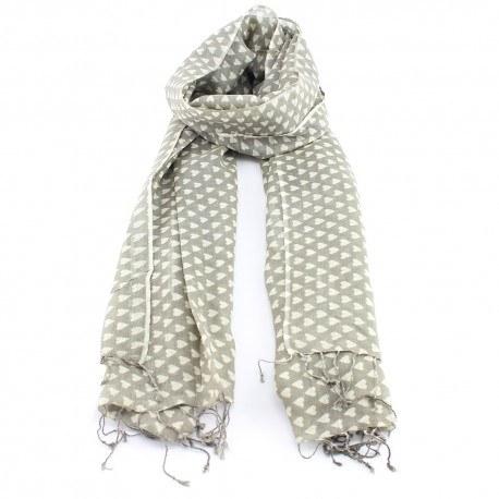 Image of   Beige tørklæde af uld og silke med hjerter