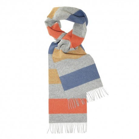 Image of   Lysegråt halstørklæde med striber i rød/gul/blå