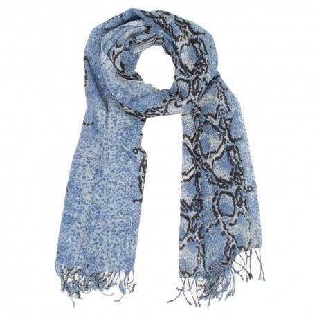 Uldtørklæde med blåt slangeprint