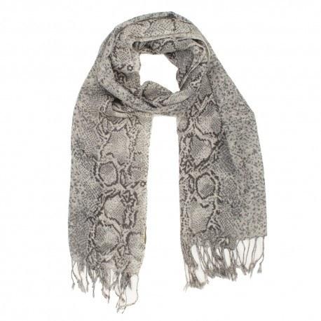 Uldtørklæde med gråt slangeprint