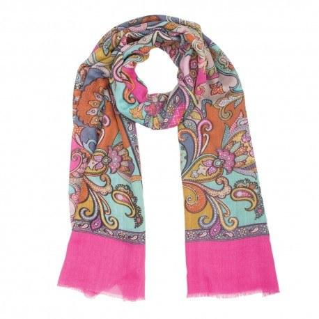 Pink tørklæde i uld og silke med print