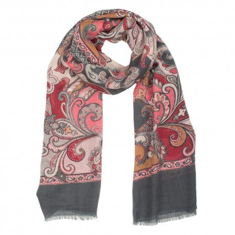 Image of   Gråt tørklæde i uld og silke med print