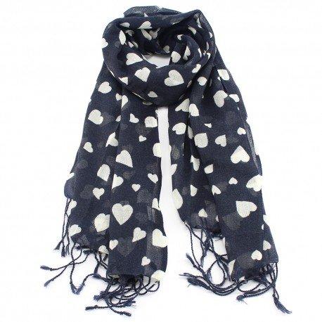 Image of   Mørkeblåt uldtørklæde med hjerteprint