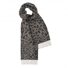 Mørkegråt halstørklæde med dyreprint