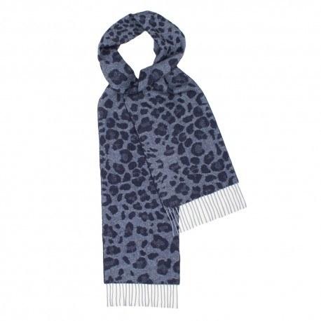 Image of   Mørkeblåt halstørklæde med dyreprint