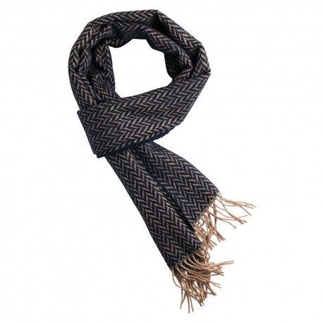 Sort og lysebrunt tørklæde i sildebensmønster