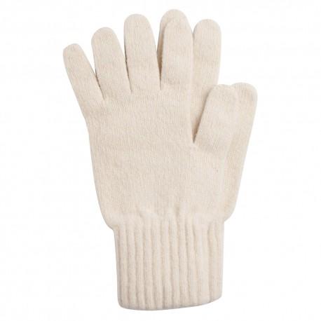 Råhvide strikkede handsker i lambswool