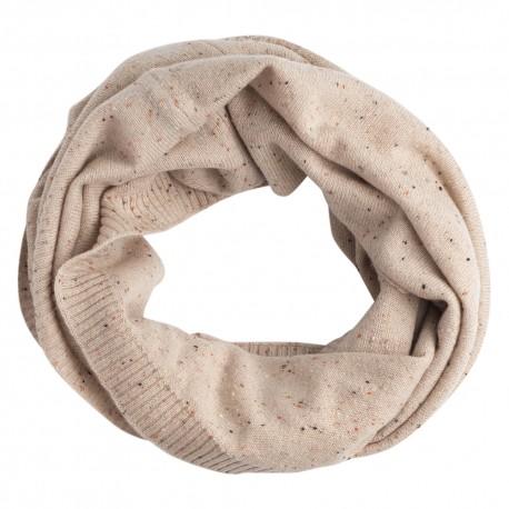 Beige nistret tubehalstørklæde i ren cashmere