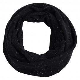 Sort nistret tubehalstørklæde i ren cashmere