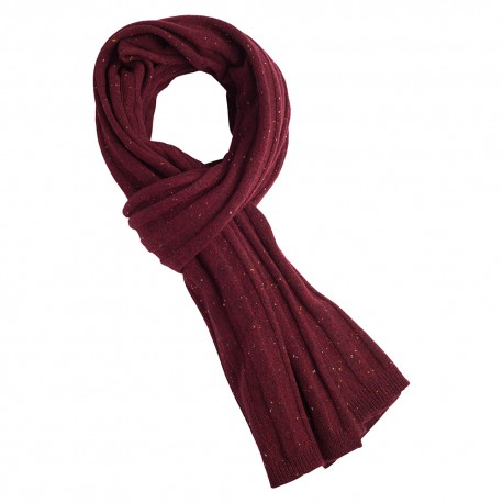 Vinrødt cashmere halstørklæde med nister
